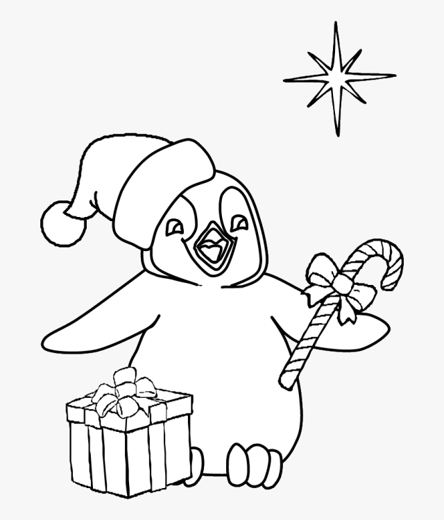 Clipart Penquin Coloring Page - Kids Christmas Coloring Pages