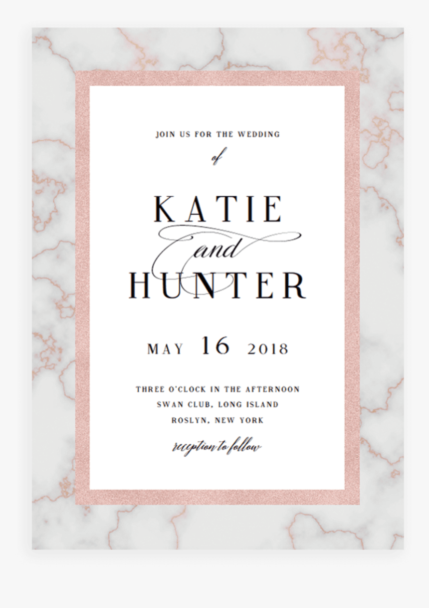 marble and rose gold wedding invitation