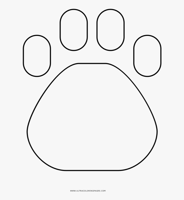 Paw Print Coloring Page - Circle, HD Png Download , Transparent