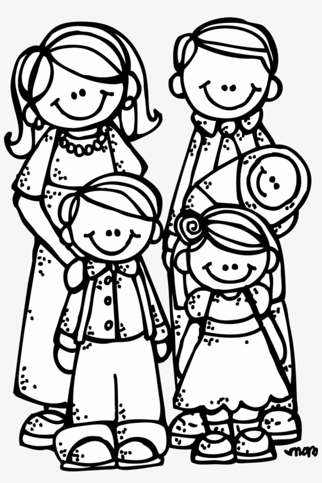 My Family Coloring Pages, Stick Figure Family Clip - Free