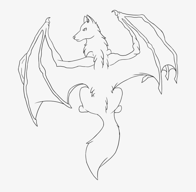 Demon Wings Drawing At Getdrawings Dragon Winged Wolf Base Free Transparent Png Download Pngkey