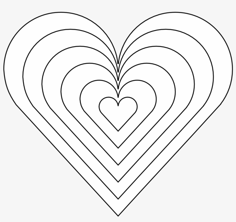 Color Heart Black White Line Art 999px 121 Rainbow Heart Coloring Pages Free Transparent Png Download Pngkey