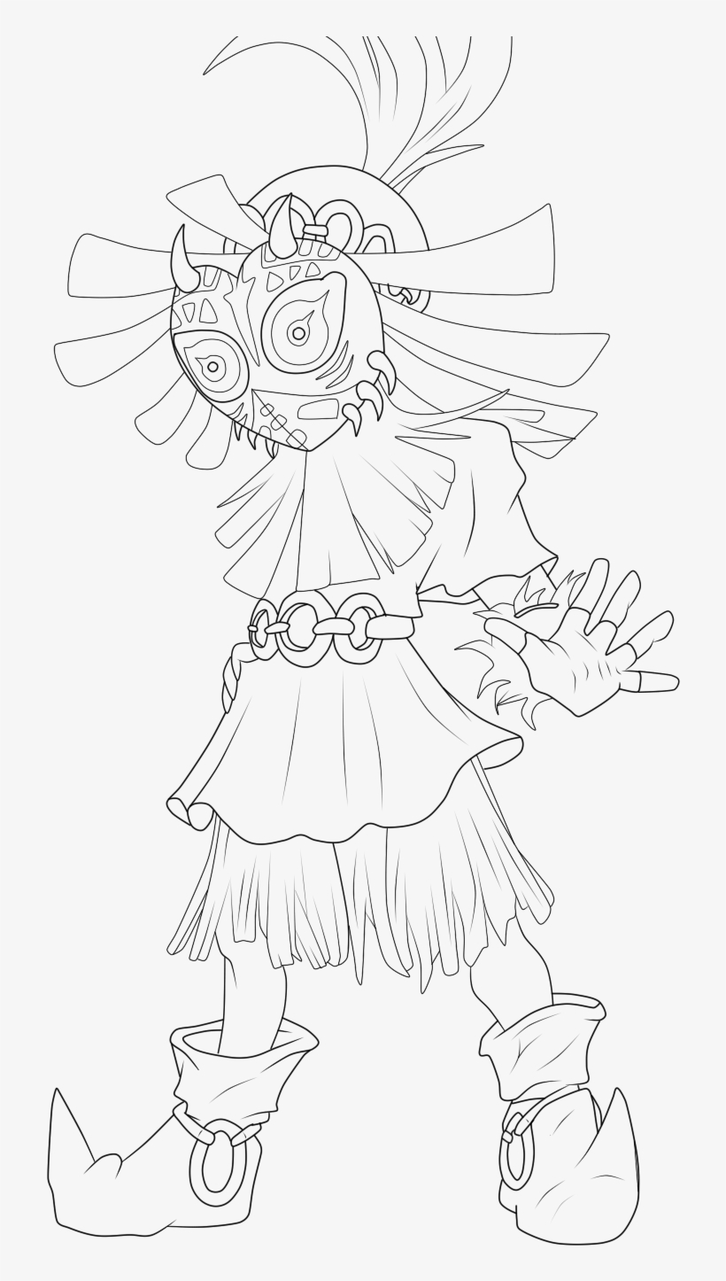 Majoras Mask Link Coloring Pages Line Art Free Transparent Png Download Pngkey