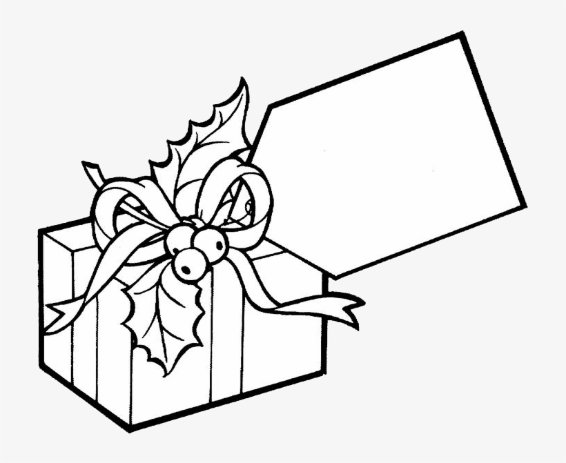 Big Tag Present Coloring Page Gift Coloring Page Png Free Transparent Png Download Pngkey