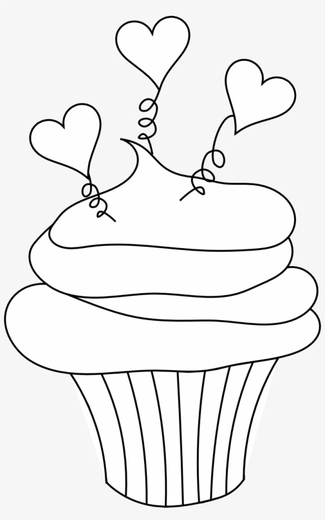 Birthday Cupcake Coloring Pages - Valentine Cupcake Coloring Pages