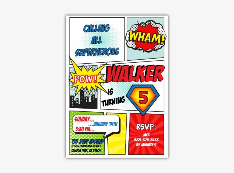 superhero birthday invitation 600x537