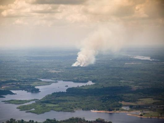 Smoke above the Amazon rainforest