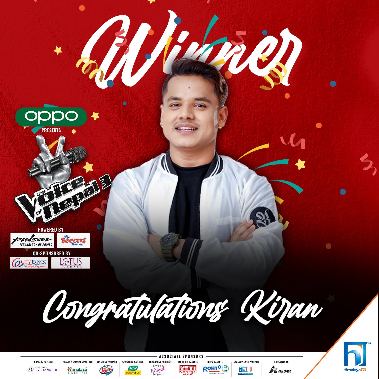 भ्वाइस अफ नेपाल-३ को विजेता बने किरण गजमेर