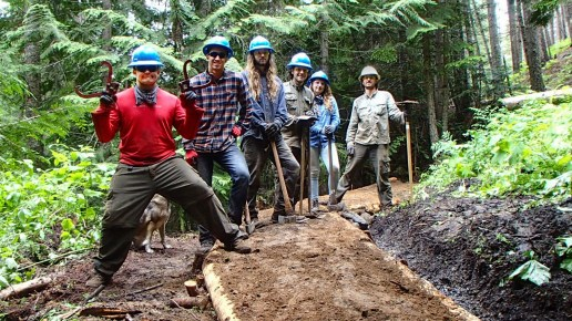Volunteer Mike Edwards joined our crew to help build a turnpike on the Colville NF