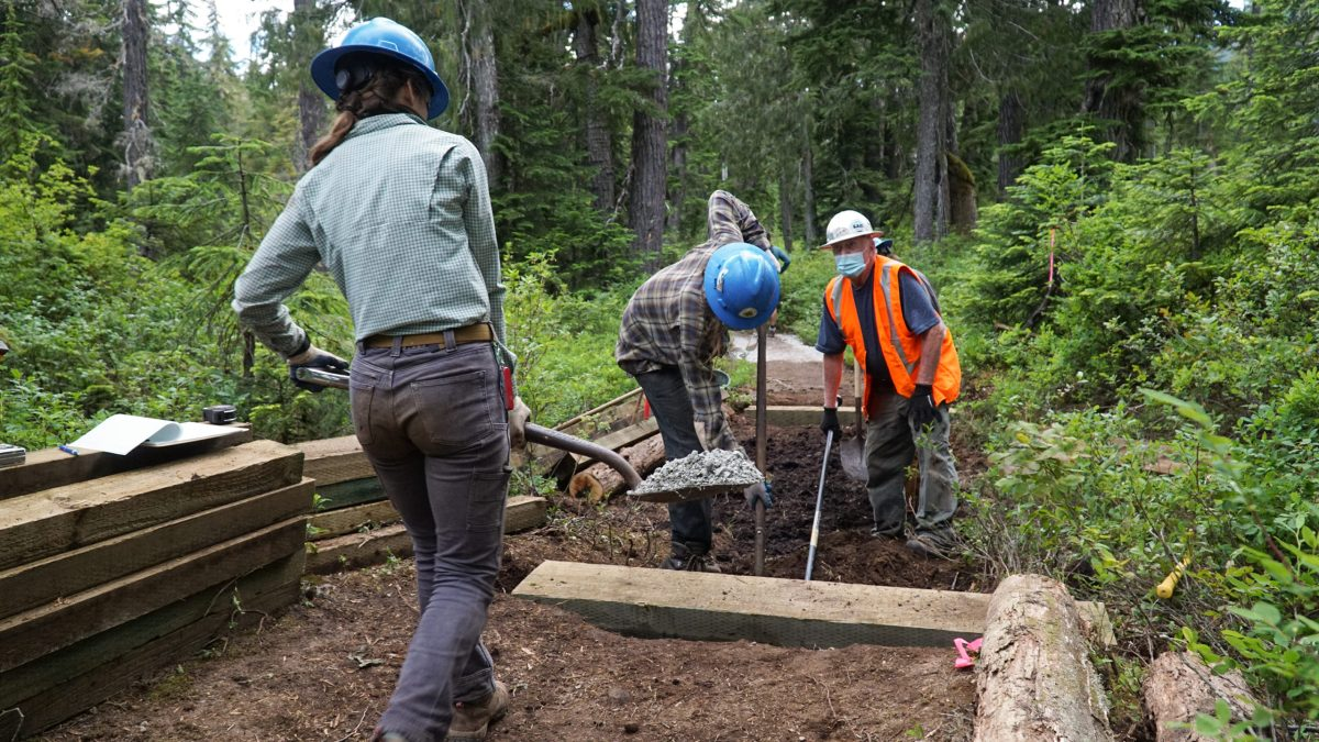 PNTA trail crew members work to build a new puncheon bridge on the PNT+