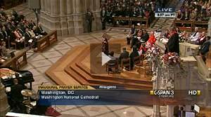 Rev. Adam Hamilton preaching at the Inaugural Prayer Service. Click for C-SPAN video of the event