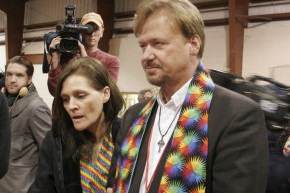 Brigitte and Frank Schaefer face the cameras after a church trial found him guilty of violating his ordination vows by officiating at his son Tim's 2007 marriage.  Photo by Kathy L. Gilbert, UMNS.
