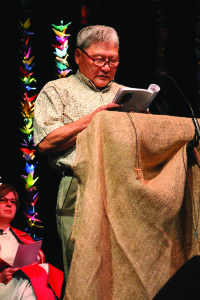 "Choichi Shimizu from Blaine Memorial UMC (Seattle) read a chapter out of his newly penned book, ""Cho's Story."""