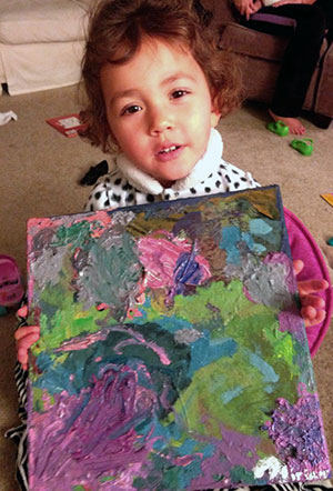 Miriam Brown and her painting.