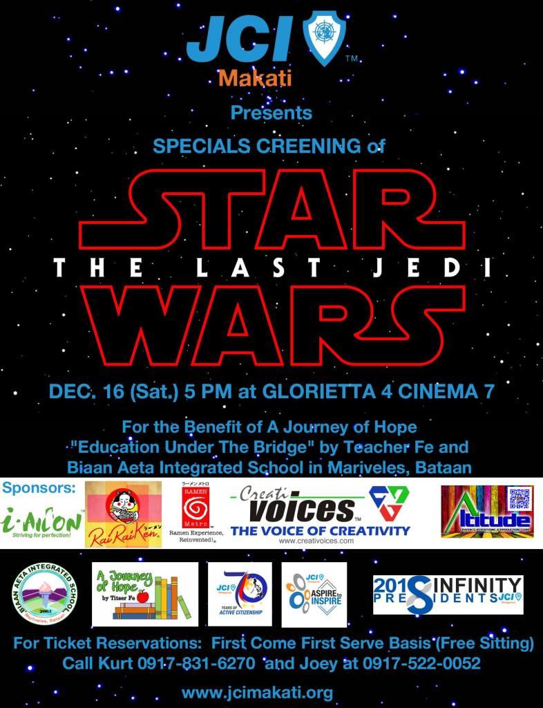 """JCI Makati's special screening of """"Star Wars: The Last Jedi"""""""