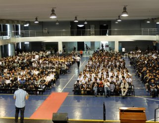 The VoiceMaster speaks at Angeles University Foundation's Regional Business Students' Summit