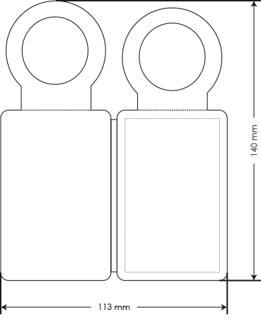 PocketPlaner mit Flaschenanhänger mit Bemaßung