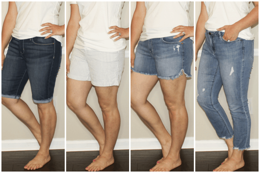 Denim shorts and jeans