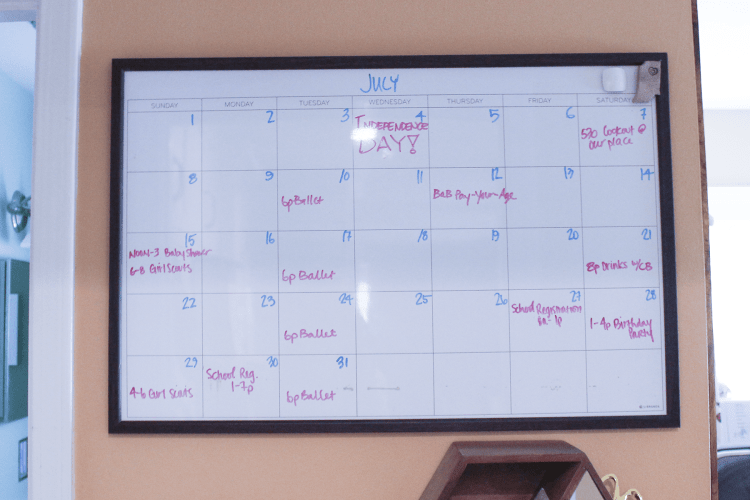 Organization for disorganized people - dry erase family wall calendar