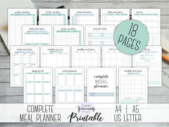 18 Page Printable Meal Planner