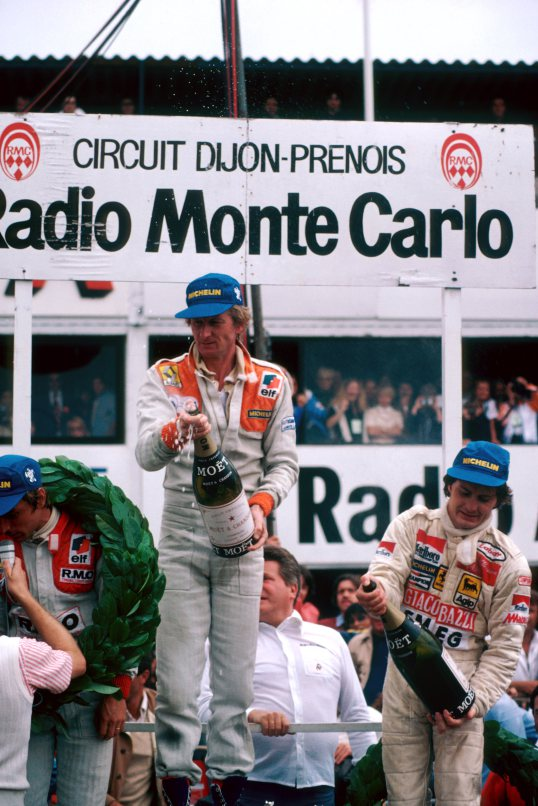 The podium (L to R): Rene Arnoux (FRA) Renault, third; Jean-Pierre Jabouille (FRA) Renault, winner for the first time and first win for Renault and turbocharged engine; Gilles Villeneuve (CDN) Ferrari, second. French Grand Prix, Rd 8, Dijon-Prenois, France, 1 July 1979. BEST IMAGE