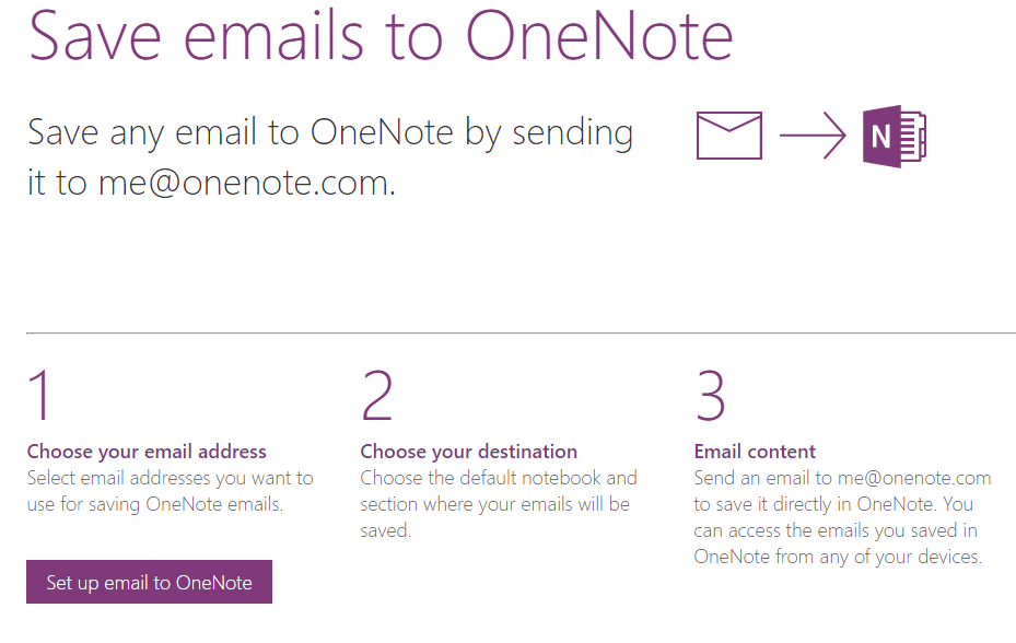 Send email to your OneNote account