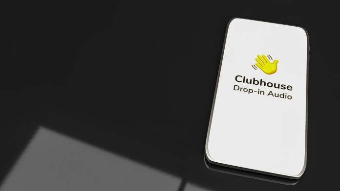 clubhouse-app-for-drop-in-audio-chat-application-on-smartphone-3d-rendering