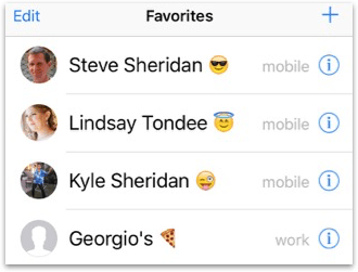 Contacts with emoji