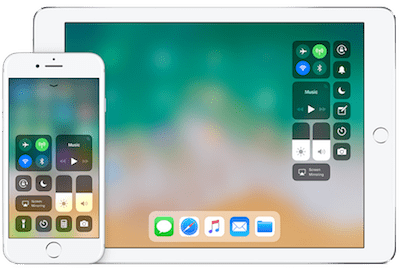 iOS 11 control center running on iPhone and iPad