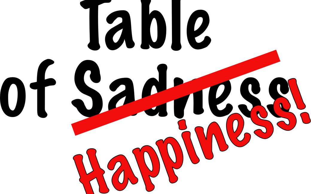table of sadness happiness