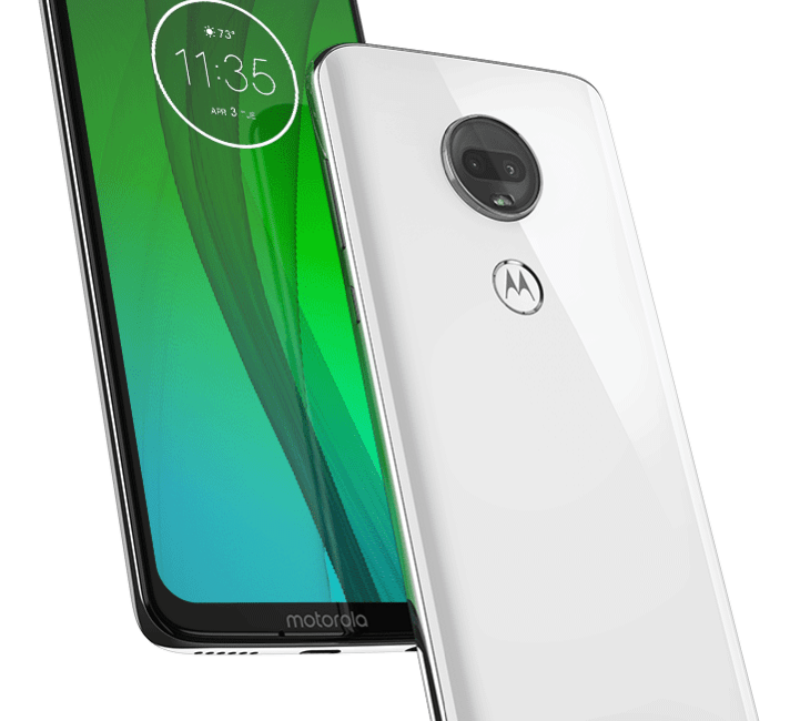 Two Moto g7s, one facing forward one back