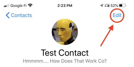 Test contact highlighting Edit button