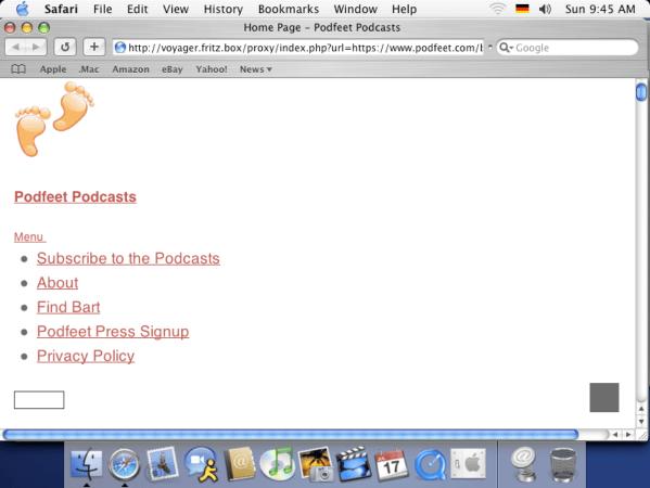 Podfeet With One Graphic (the podfeet logo) under OSX on original iMac