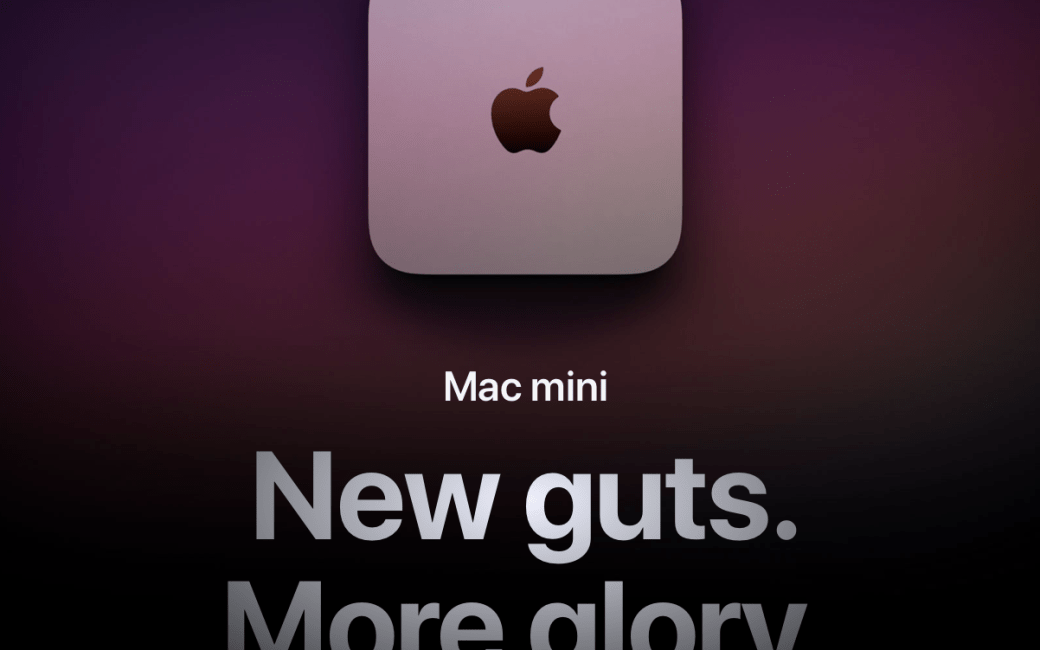 M1 Mac mini with words new guts more glory under it