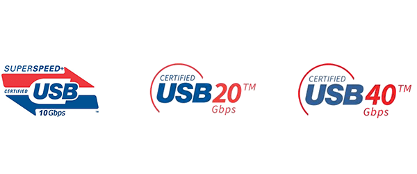 Logos for SuperSpeed USB, USB4 20 Gbps, and USB4 40 Gbps