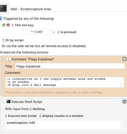 Mail screencapture with Comments in Keyboard Maestro