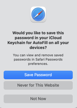 ICloud Keychain Offers to Save Password