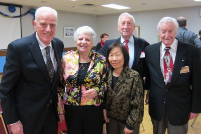 From right to left: Founding members Jack Embrey and Jack Punter, former members Deanna Yeung and Dr. Doug Brown with his wife Bruna Brown return to Podium Toastmasters for the annual holiday party.