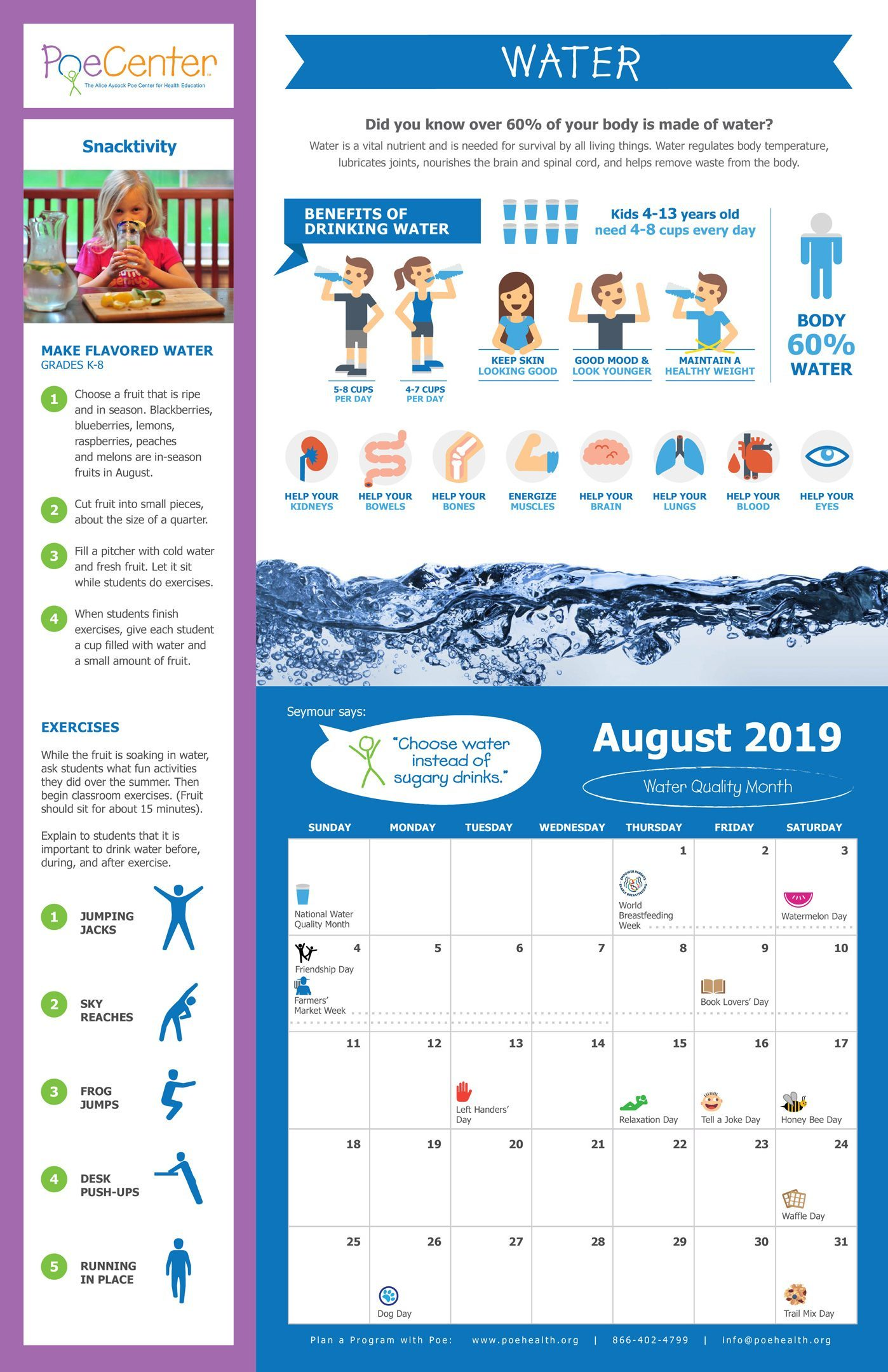 Nutrition Amp Physical Activity Classroom Calendar