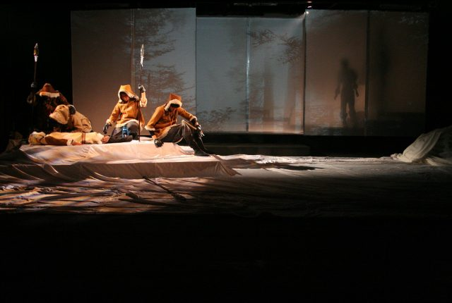 theatre lighting and projection design for the ice wolf, Anatou's dead