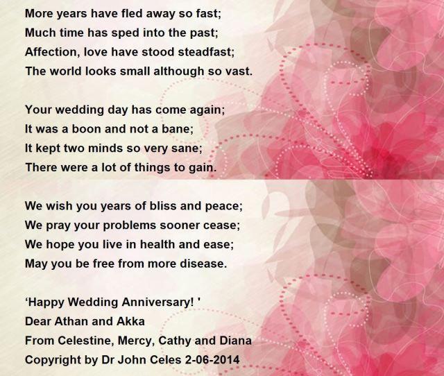 Happy Wedding Anniversary Dear Sister Brother In Law Poem By Dr A Celestine Raj Manohar M D Poem Hunter