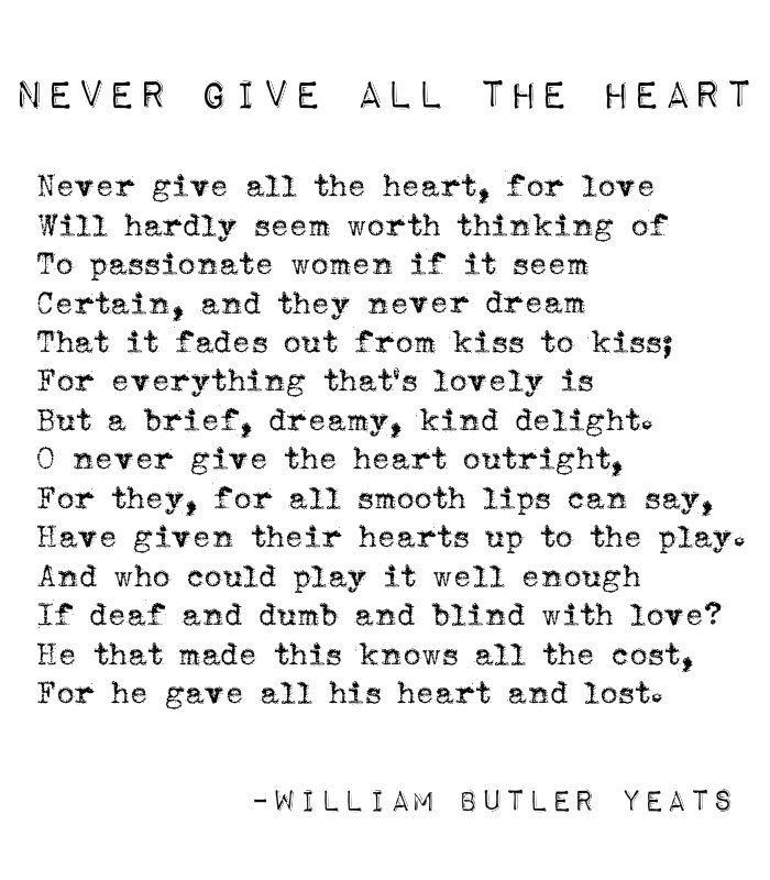 Yeats Poems About Love