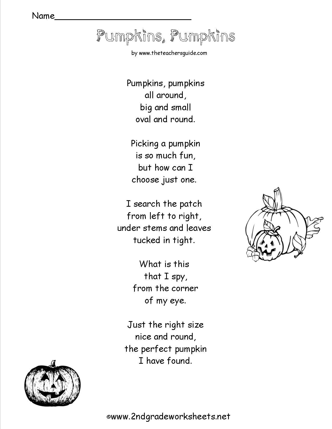 Halloween Poetry Worksheet