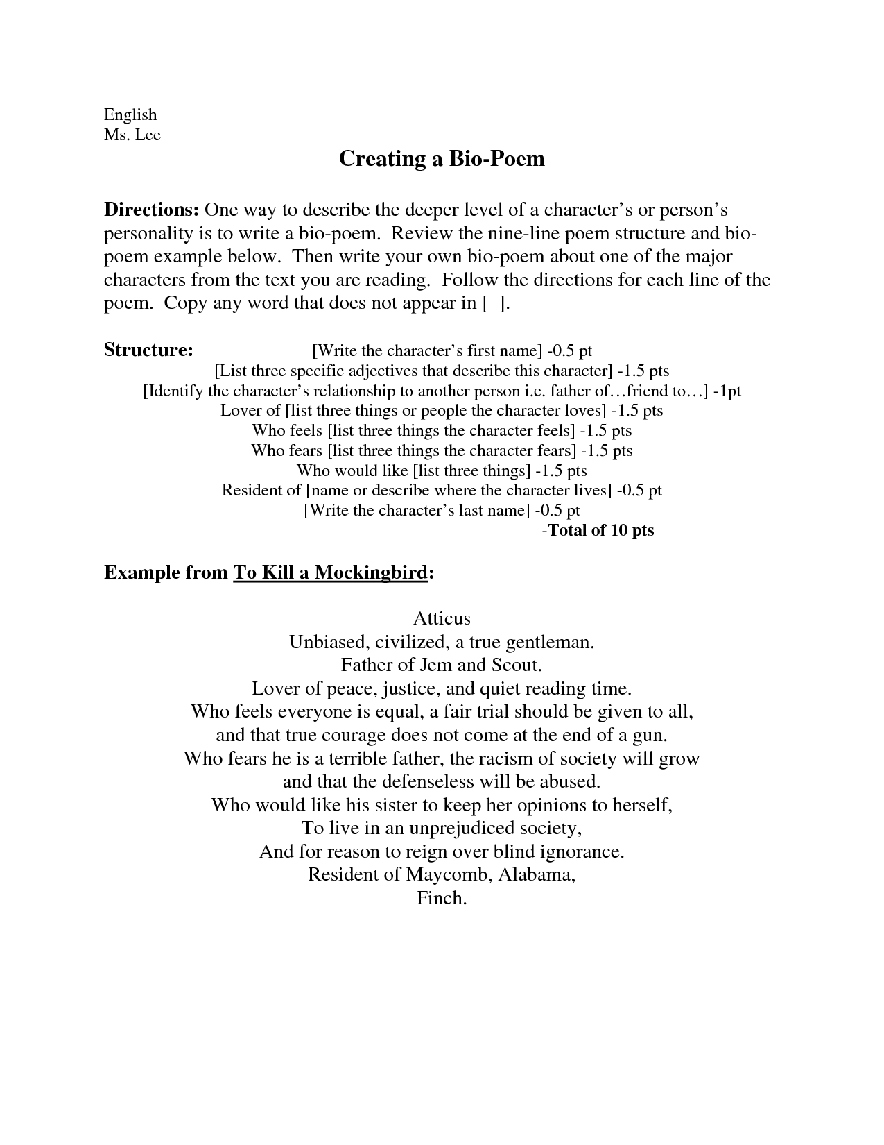 Examples Of Bio Poems