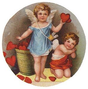 vintage valentine images cherubs with basket of hearts