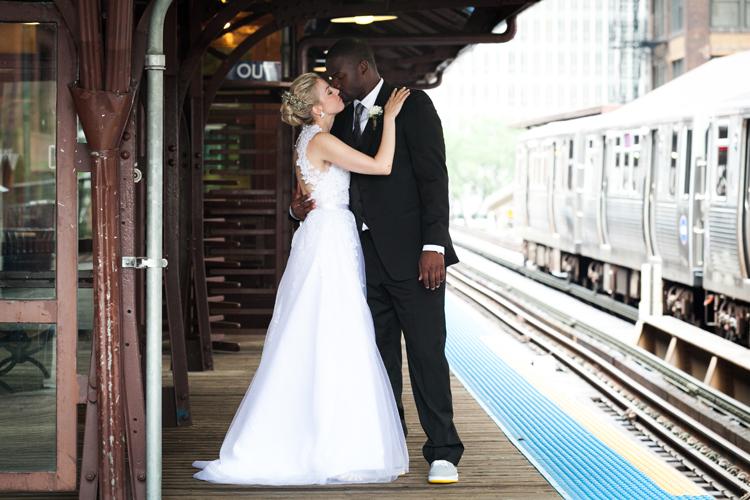 Chicago Loop Train Wedding Photo