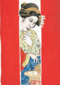 Natalie Dekel - Drawing past-lives - Self portrait as a Japanese woman serving tea in 1800