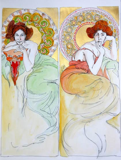 Natalie Dekel - Drawing past-lives - Self portrait in Art Nouveau style, early 20th century (painted in 2004)