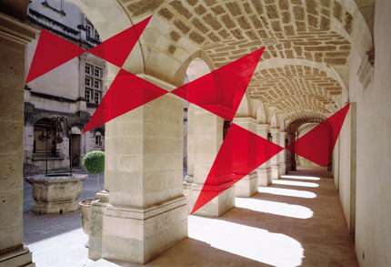 2003-Six-triangles-en-diagonale-(Suze-la-rousse-France)-Felice-Varini