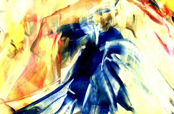 The Dance of the Inner Voice - Encaustic Wax Painting, by Natalie Dekel 2011